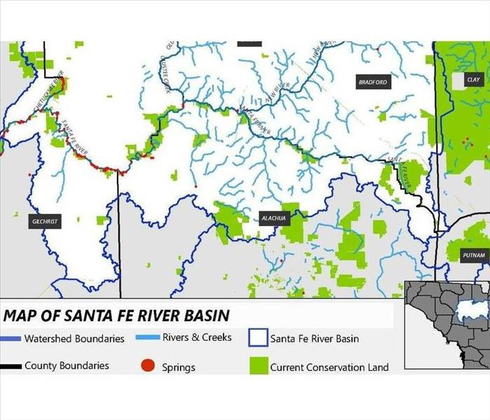 map of Santa Fe river basin with tributaries