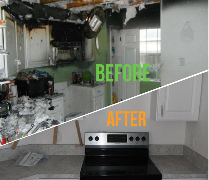 Before photo of fire damaged kitchen and after photo of restored kitchen by SERVPRO